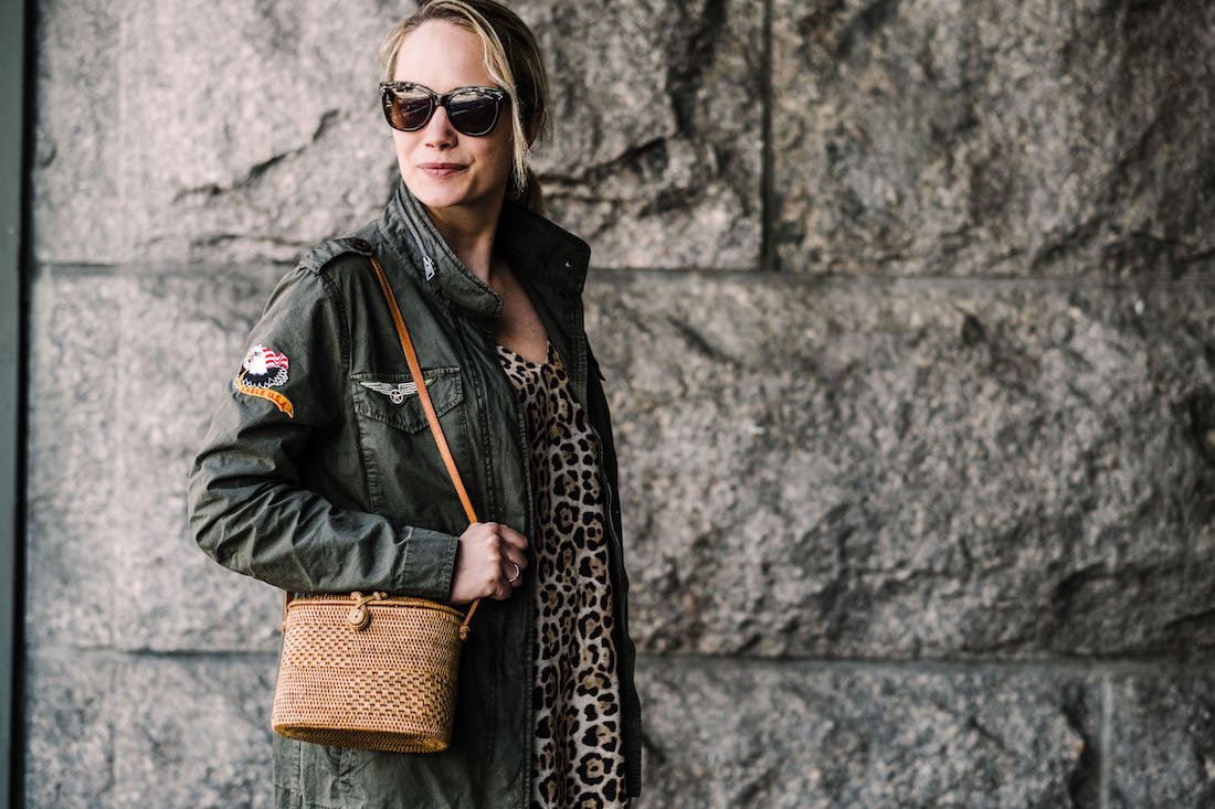 ATM Anthony Thomas Melillo Leopard Silk Slip Dress - Zadig & Voltaire Virginia Grunge Military Jacke - Bembien® Harper bag J.CREW