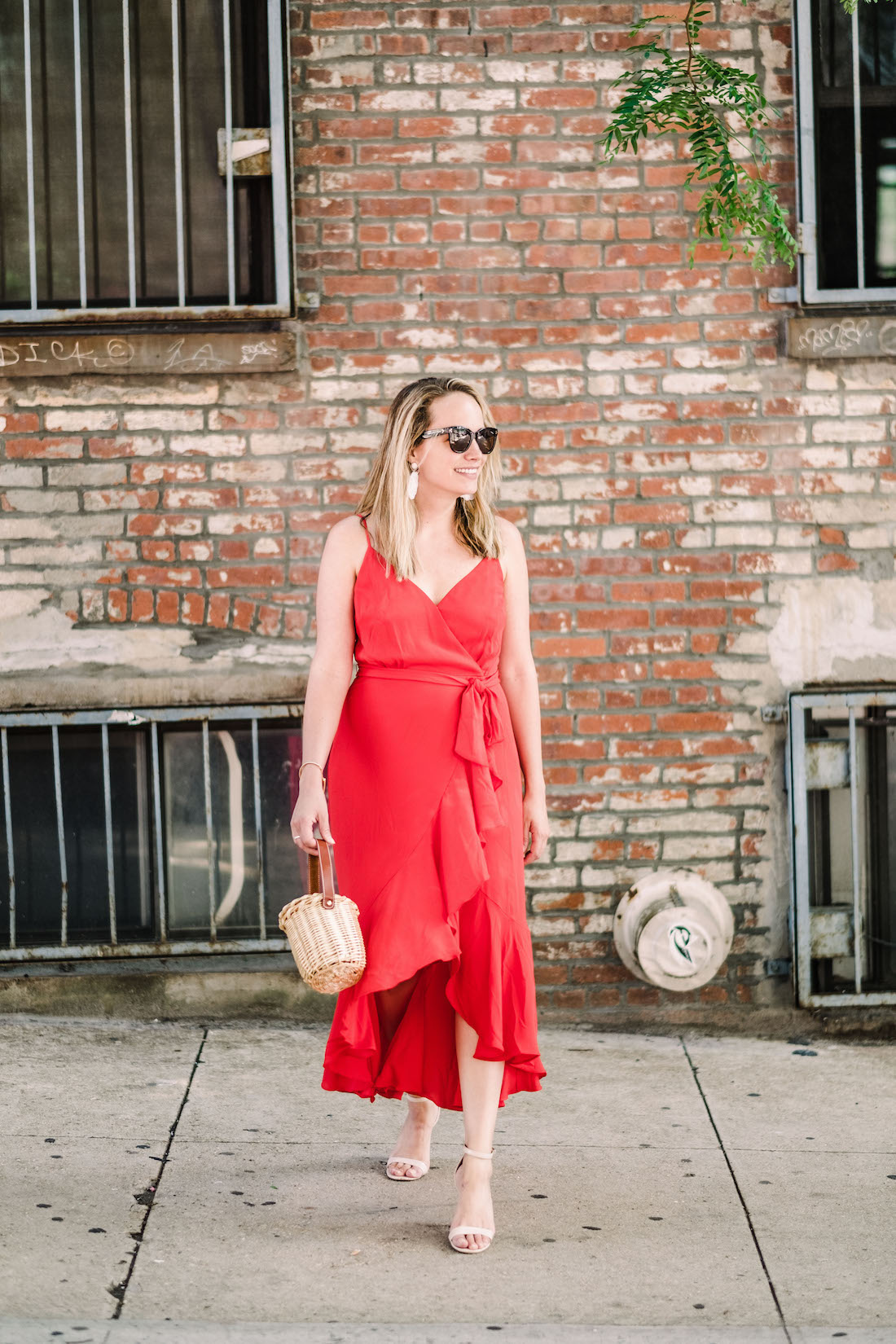 J.Crew Red Dress // BaubleBar Earrings // Steve Madden Sandals // Polaroid Sunglasses // Lindroth Design Mini Birkin