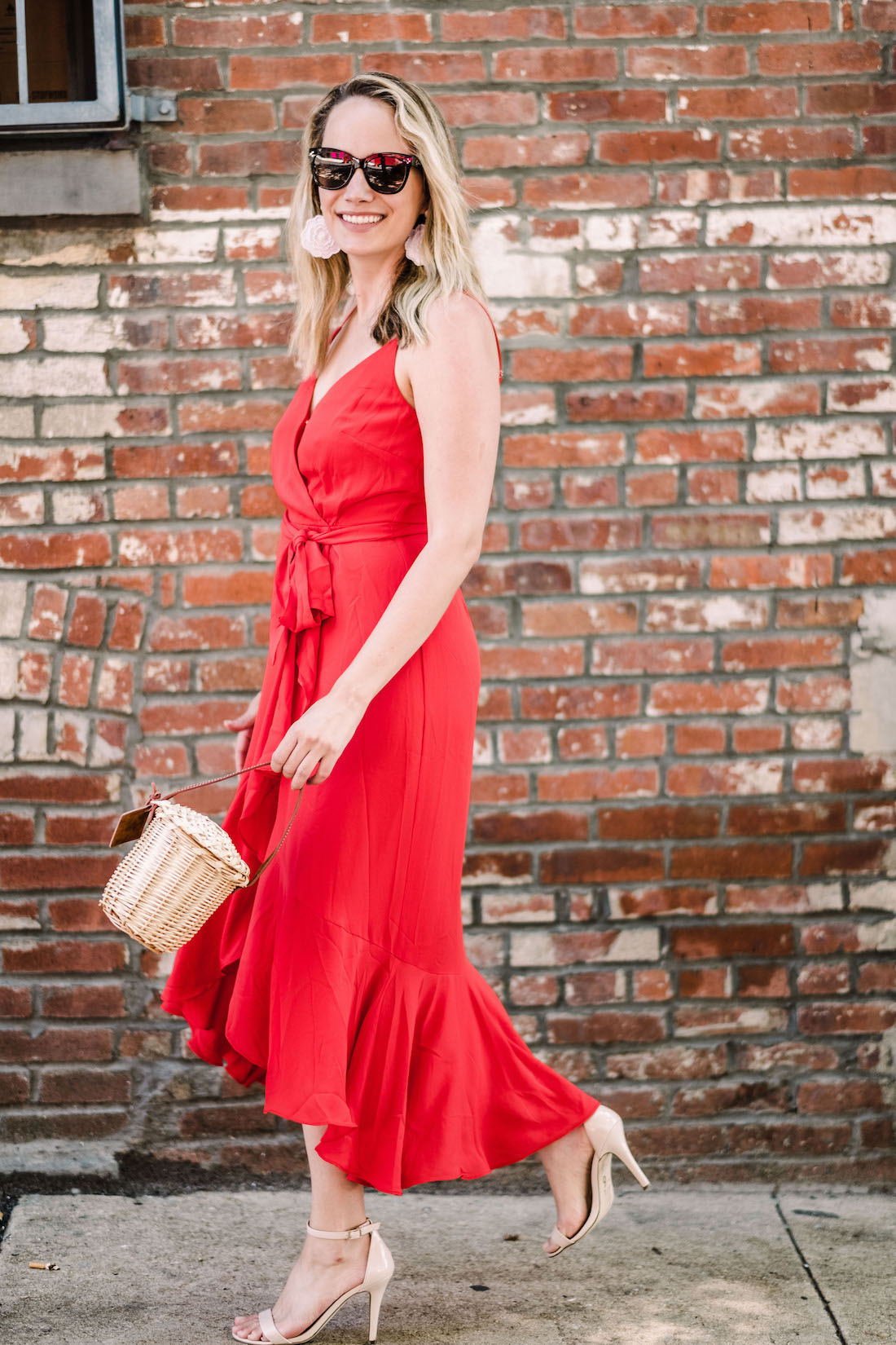 J.Crew Red Dress // BaubleBar Earrings // Steve Madden Sandals // Polaroid Sunglasses // Lindroth Design Mini Birkin - The Stripe