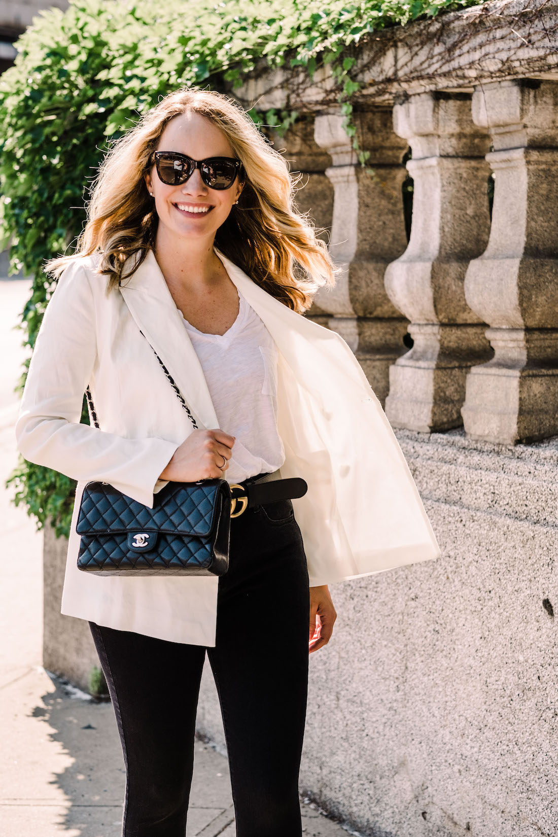 Outfit Details:Leith Blazer // Madewell Tee // American Eagle Jeans // Manolo Blahnik Heels // Gucci Belt // Chanel Purse // Polaroid Sunglasses // Monica Vinader Diamond Bracelet- The Stripe