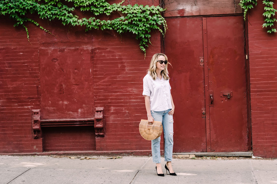 Outfit Details: Madewell Courier Shirt // Levi's Jeans // Cult Gaia Bag // Manolo Blahnik Heels // Polaroid Sunglasses - The Stripe