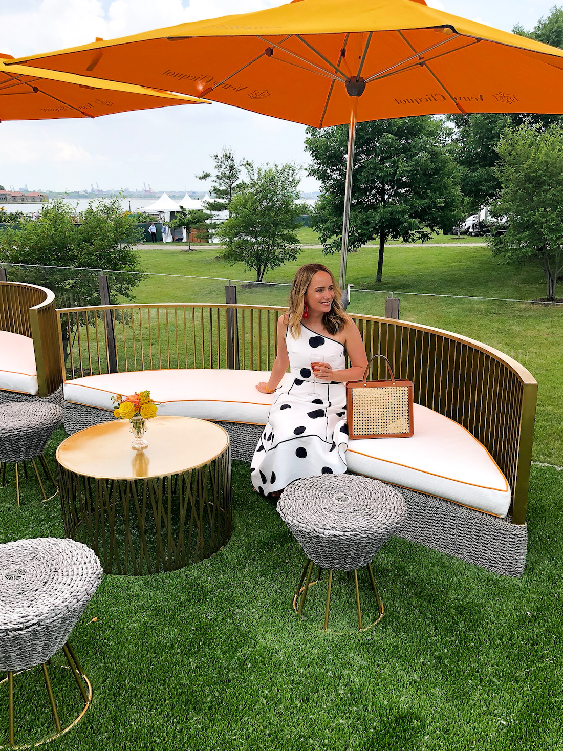 Grace wearing a Kate Spade dress in the Veuve Clicquot Polo Classic 2018 - The Stripe