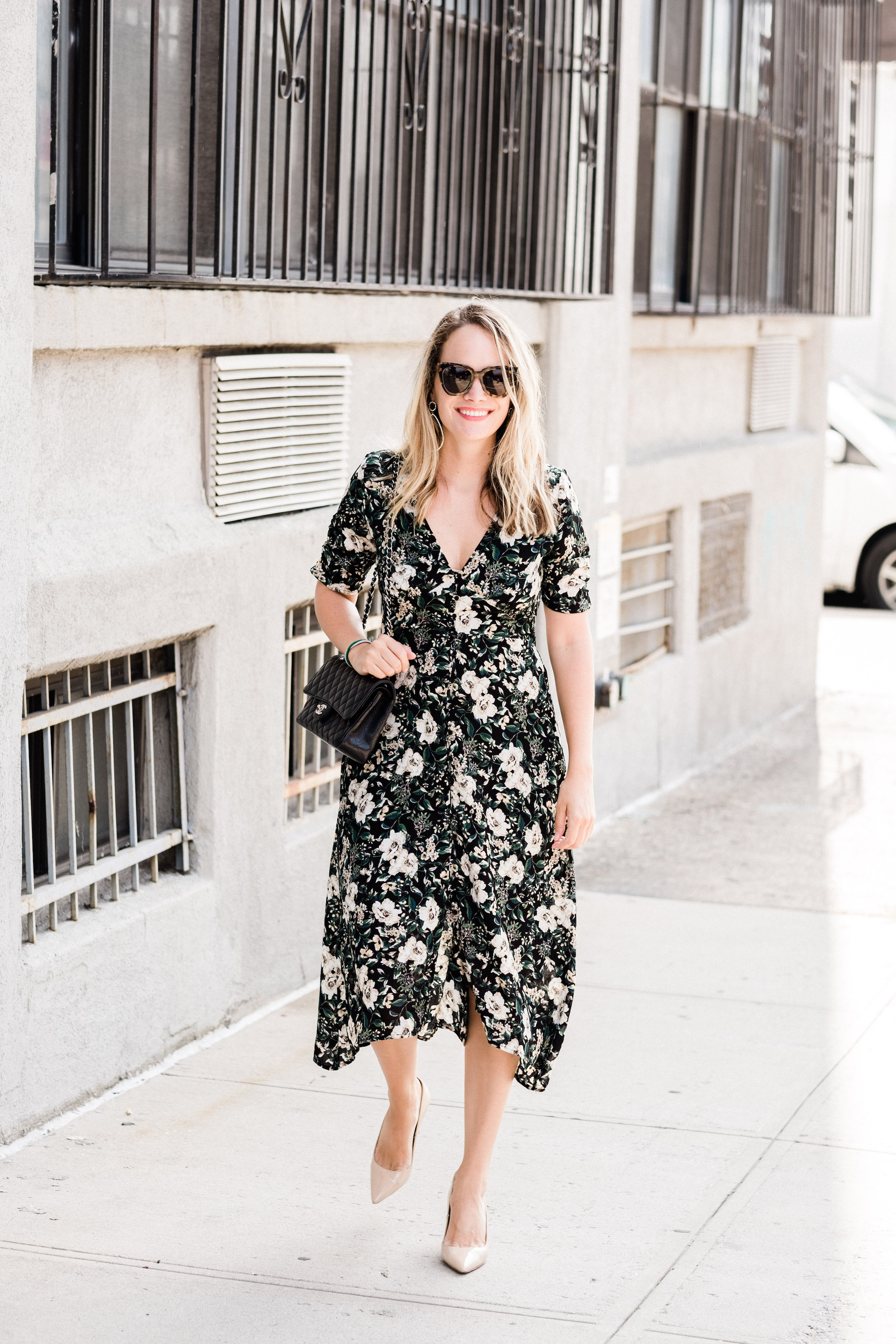 s button front floral dress