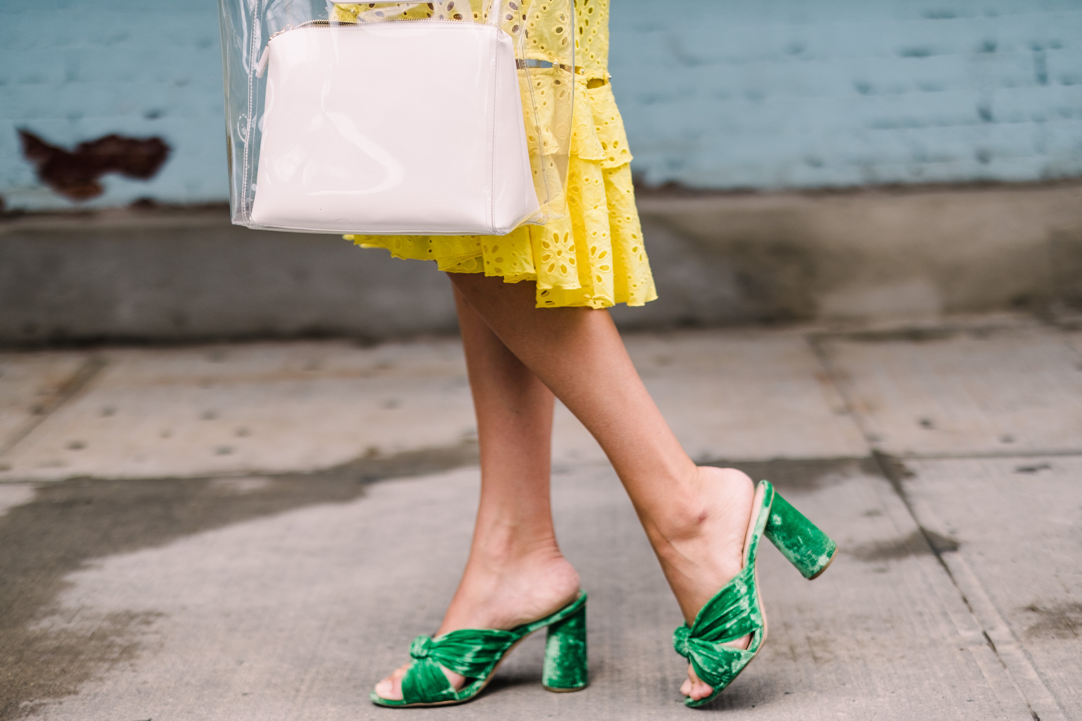 Yellow Dress paired with green sandals