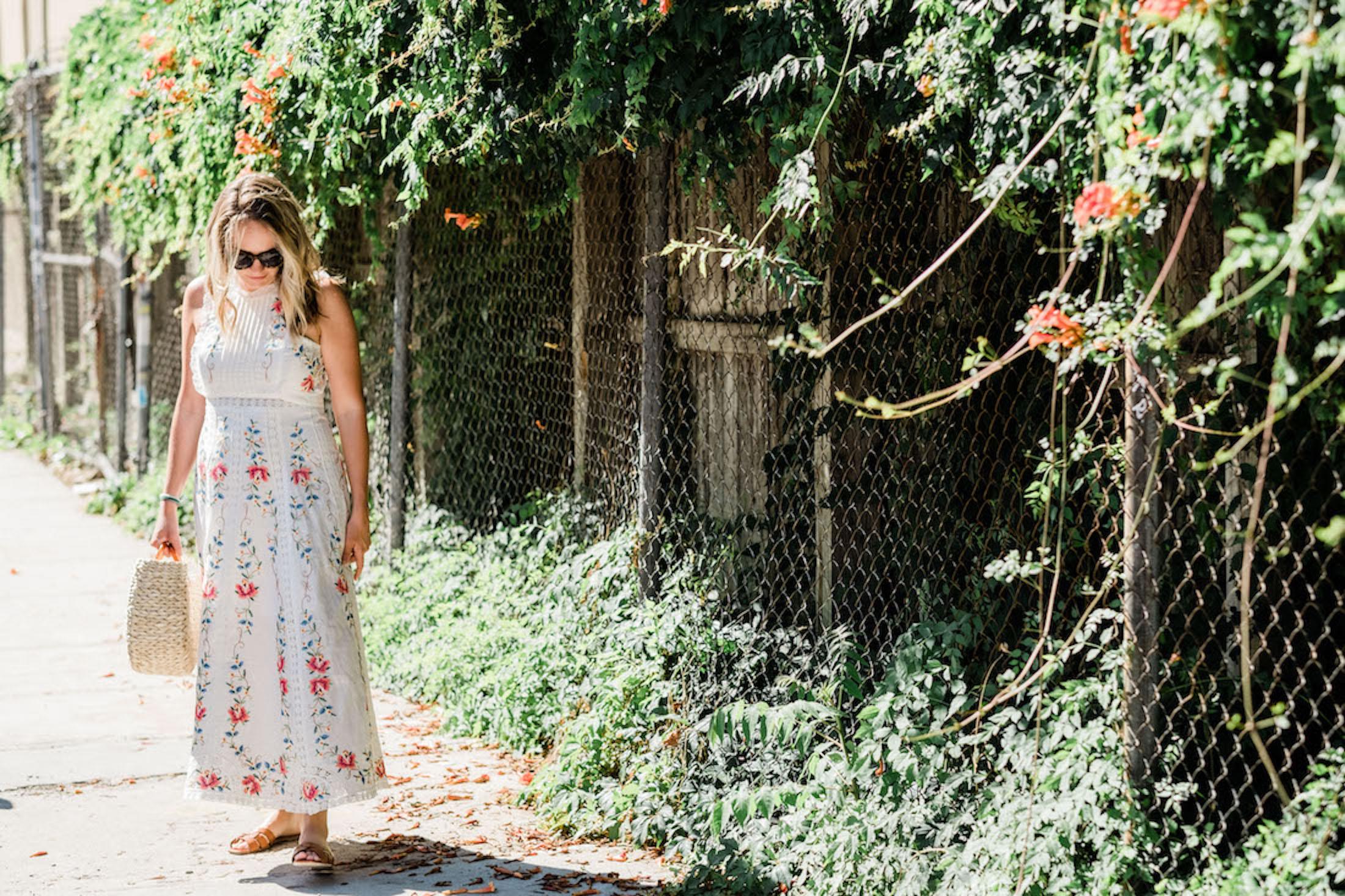 Zimmerman Dress / / Saint Laurent Slides / / Pamela Munson Bag- The Stripe