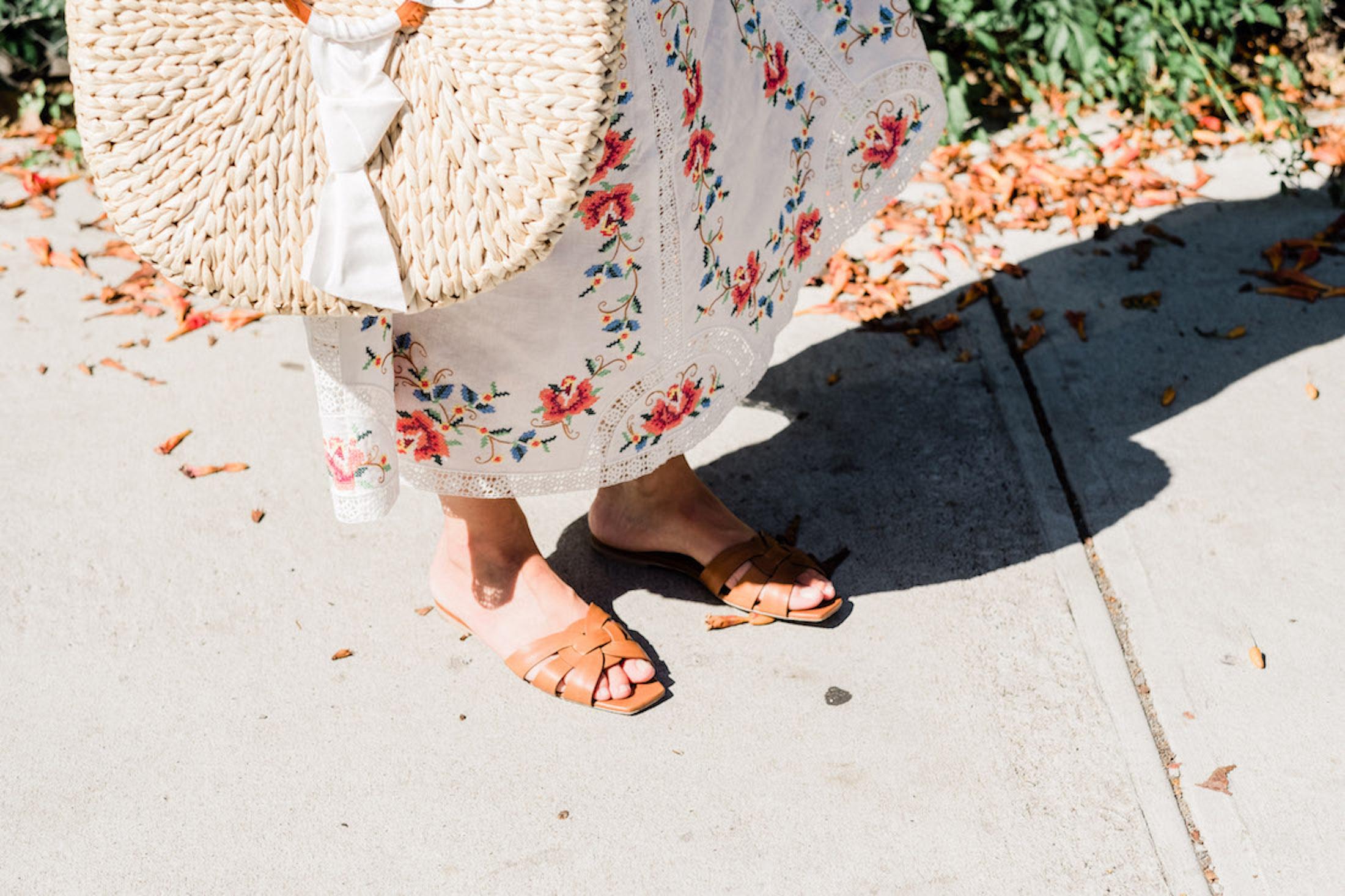 Saint Laurent Slides / / Pamela Munson Bag- The Stripe