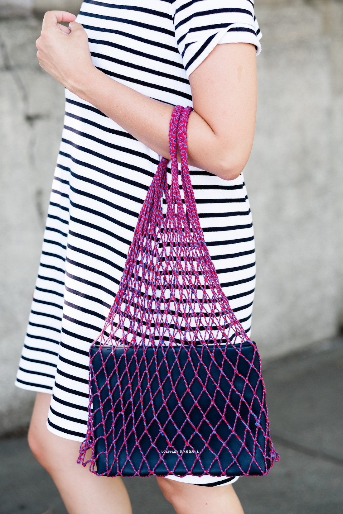 loeffler randall net bag with sacai stripe t-shirt dress
