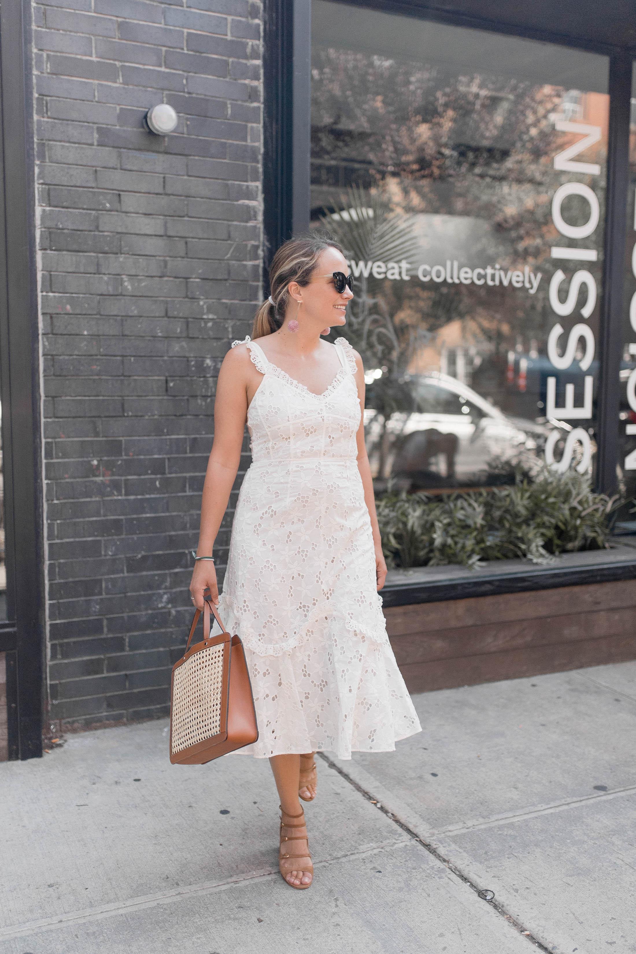 Rebecca Taylor Adriana Eyelet Lace-Up Midi Dress 11