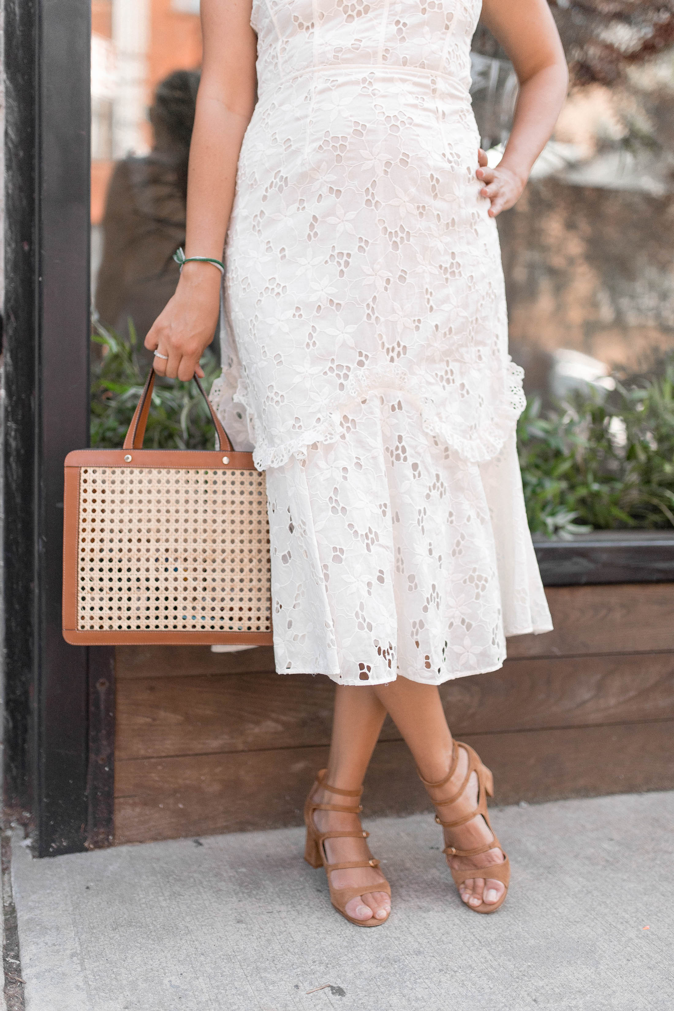 3a6748b1791b Rebecca Taylor Adriana Eyelet Lace-Up Midi Dress 2 - The Stripe