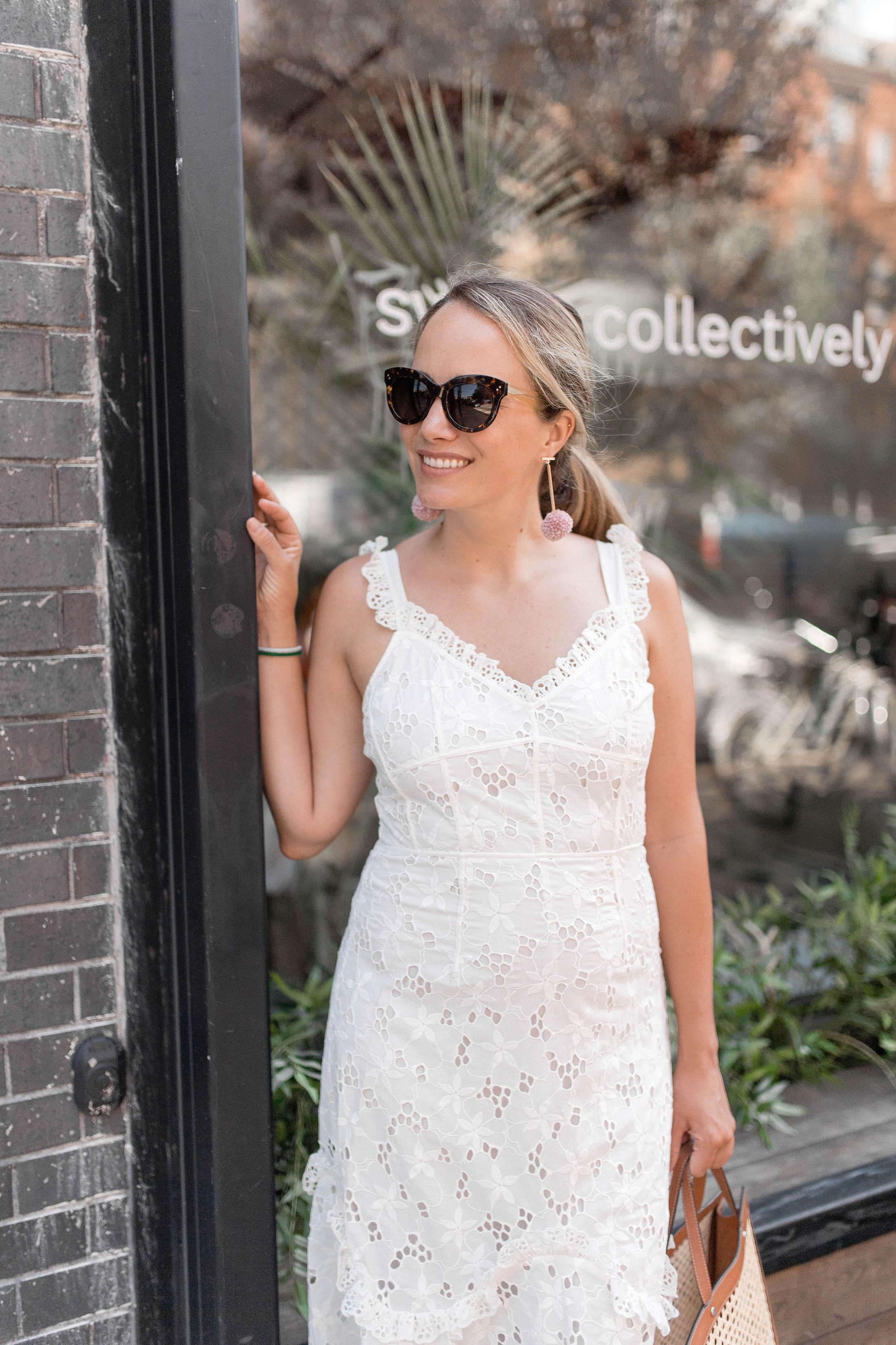 ea3257261e22 Rebecca Taylor Adriana Eyelet Lace-Up Midi Dress 4 - The Stripe