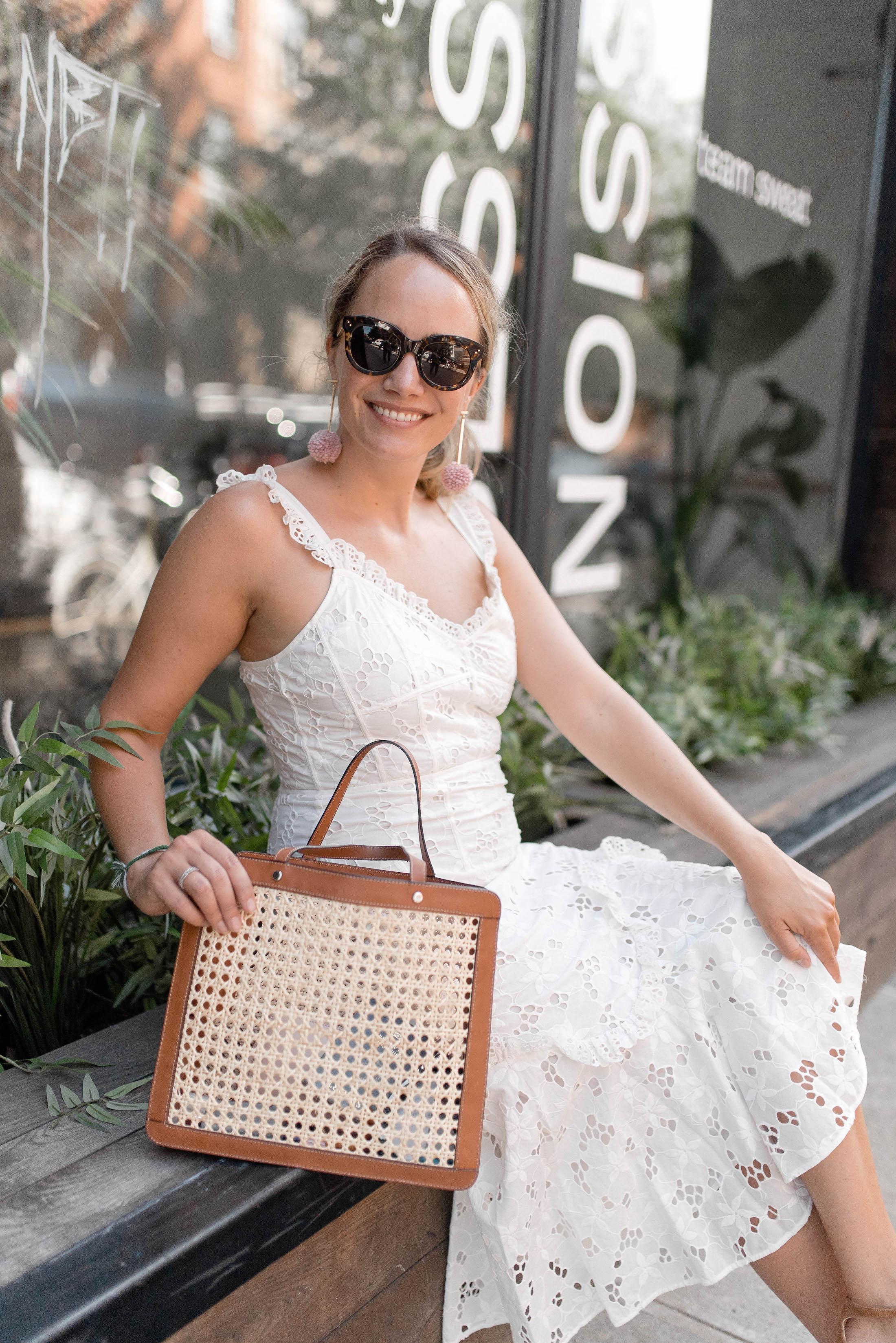Rebecca Taylor Adriana Eyelet Lace Up Midi Dress 5