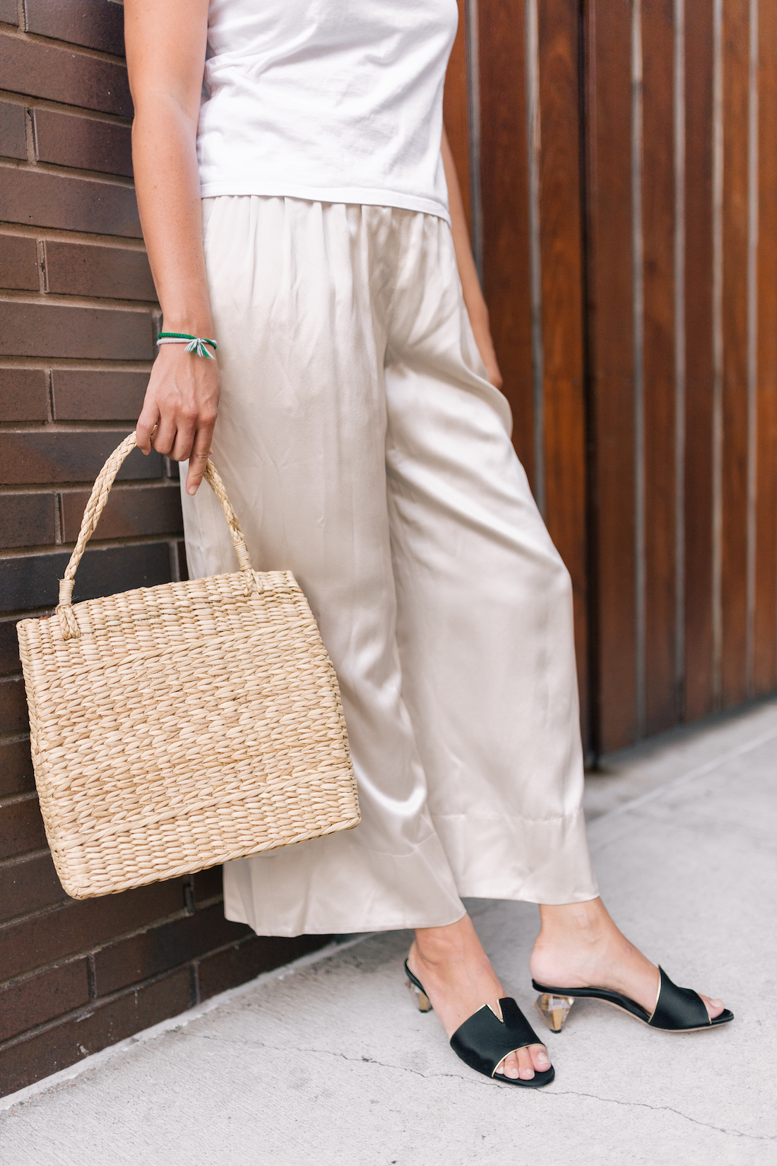 THEORY Smocked silk-satin culottes / Poolside Bags The Masha Tote Bag / Marion Parke Barbie Slides