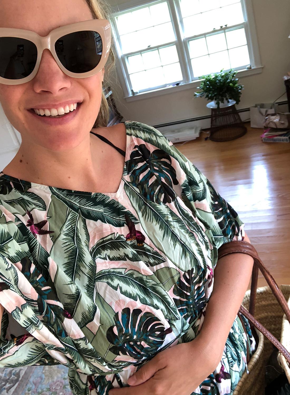 Seafolly palm leaf kaftan // Nude Sonix Sunglasses
