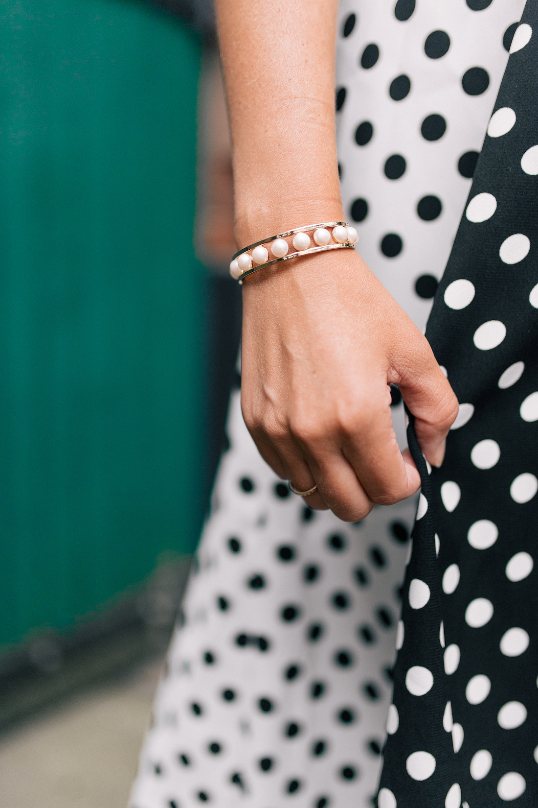 contrasting polka dot dress