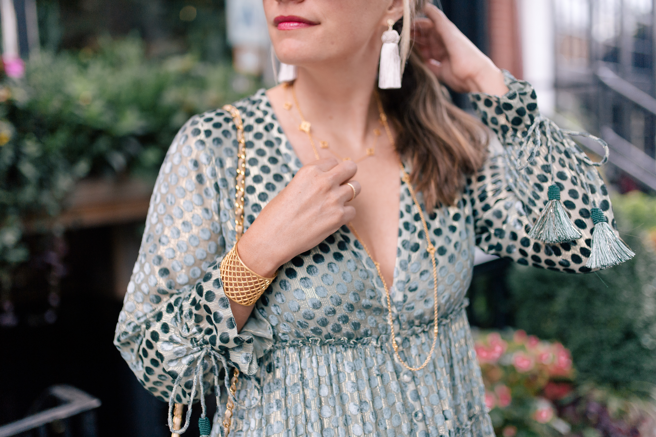 Julie Vos Necklaces // Julie Vos Cuff // Hart Tassel Earrings