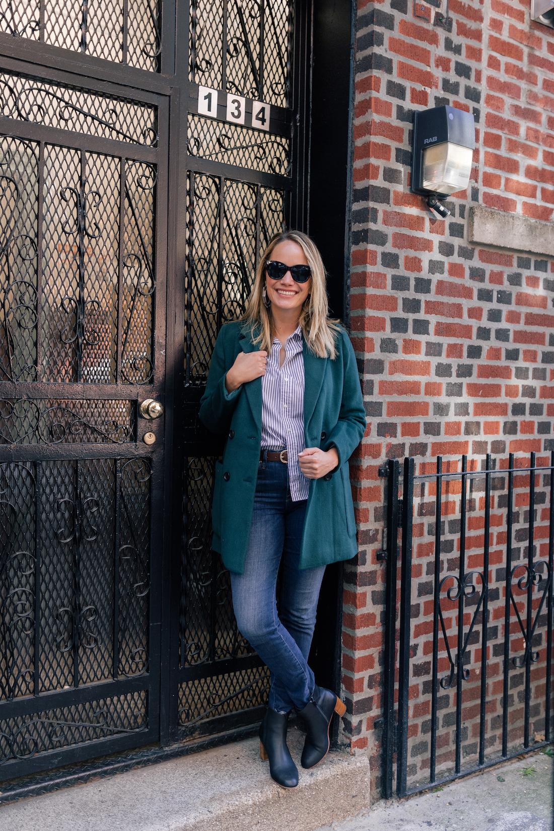 Madewell Coat// Frank & Eileen Classic Button Down Shirt // Good American Jeans // Soludos Boots // Polaroid Sunglasses // J.Crew Belt // Gucci Bag