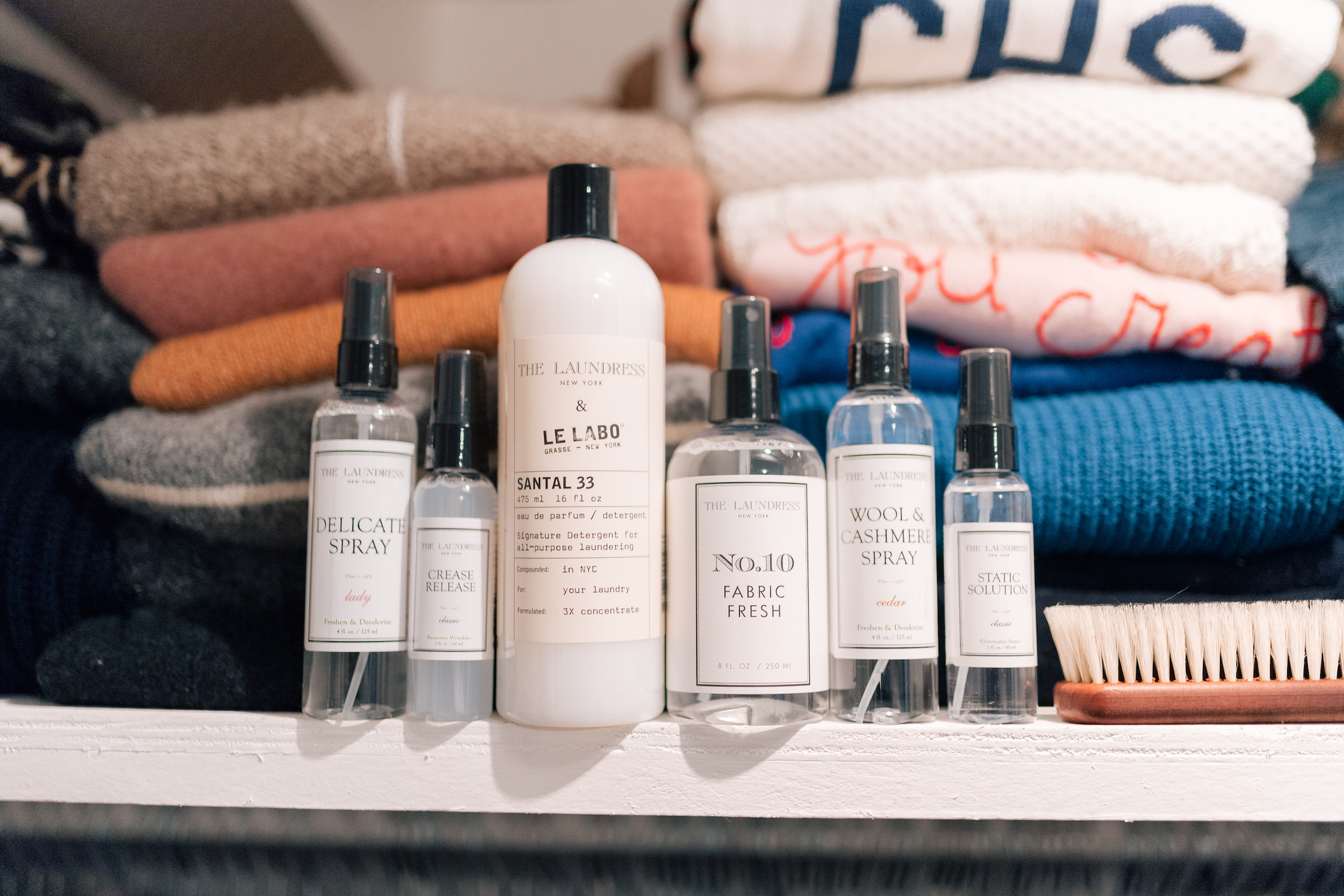 A few of my Laundress go-to products:Delicate Wash,Crease Release, Santal 33 Detergent(FAVORITE!), Wool & Cashmere Spray and Static Solution. I also really love theirCashmere Brush(for removing lint + pills) +Lavender Pouches!