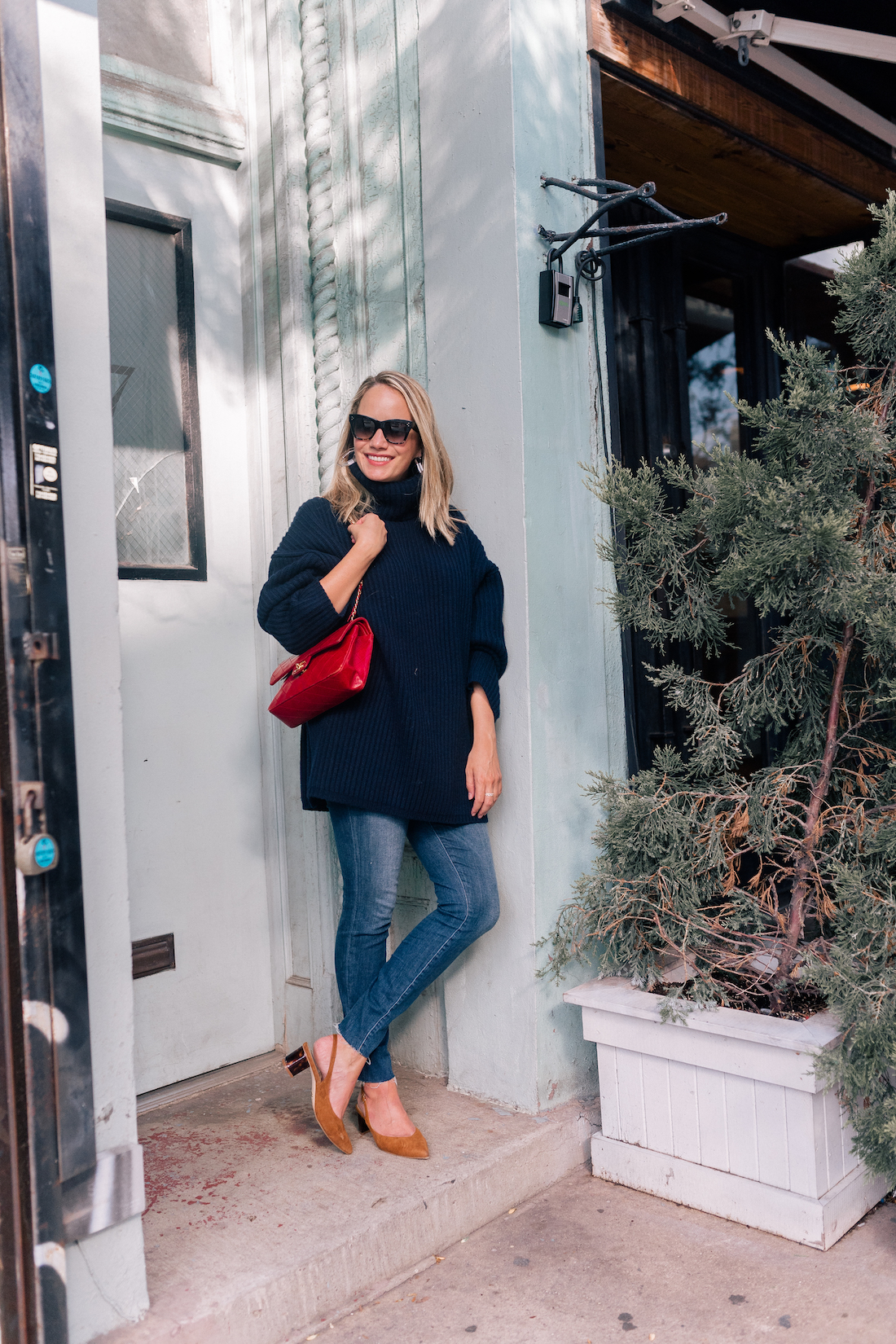 Outfit Details: Acne Oversized Sweater // Good American Jeans // Vintage Chanel Bag // Rachel Comey Earrings // Celine Sunglasses // Sarah Flint Slingbacks