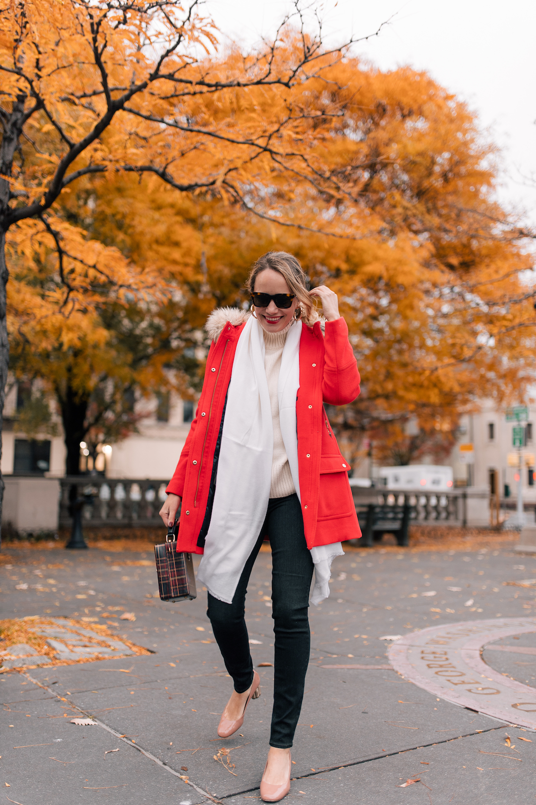 Outfit Details:J.Crew Chateau Parka (also here, finally ON SALE!) // Paige Jeans // Heidi Wynn Cashmere Wrap (20% off with code HOLIDAY20)// Zara Sweater // Ferragamo Heels // Celine Sunglasses // BaubleBar Mini Penelope Hoop Earrings(currently on sale!) // Patricia Nash Bag