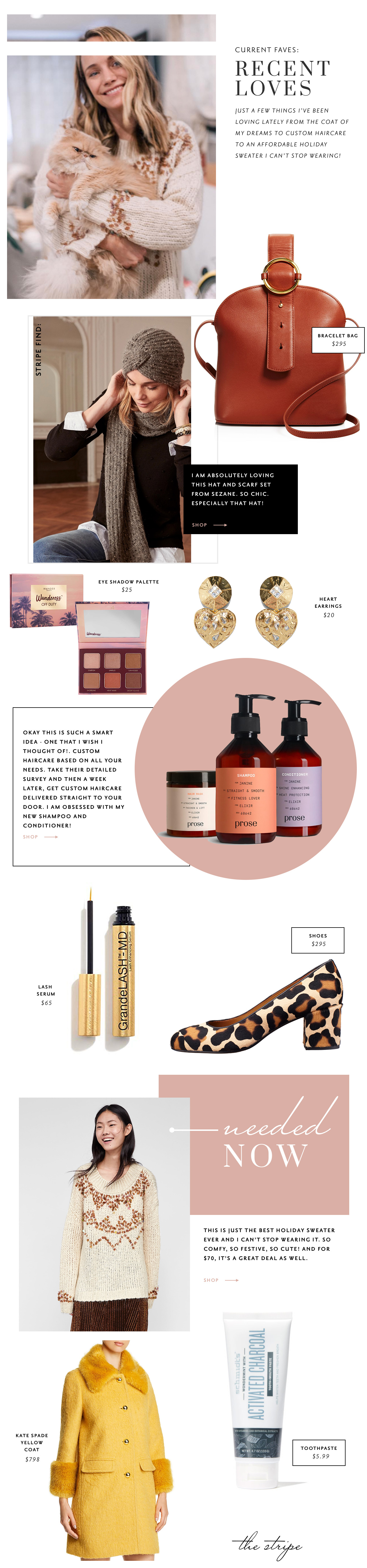 bracelet bag & december 2018 favorite things | grace atwood, the stripe | #margaux #prosehaircare #beautyroundup | thestripe.com