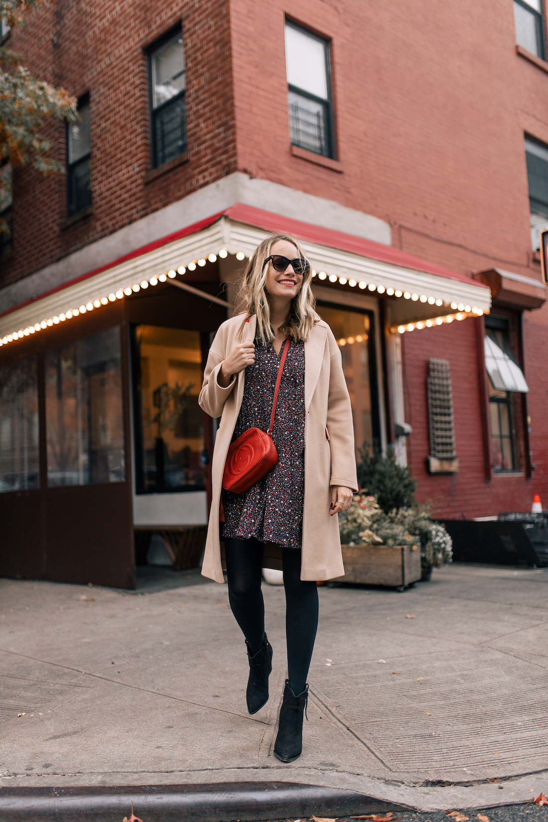 Outfit Details #2:  Madewell Dress // Sam Edelman Boots // Polaroid Sunglasses // TopShop Coat // Gucci purse
