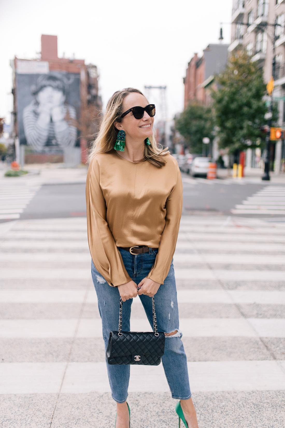 Outfit Details:Levi's Jeans //Vince Blouse  //Tuckernuck Earrings//Polaroid Sunglasses //J.Crew Belt //Chanel Purse