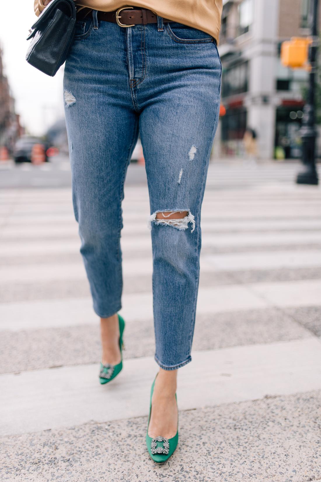 Outfit Details:Levi's Jeans // Tuckernuck Earrings//Manolo Blahnik Heels