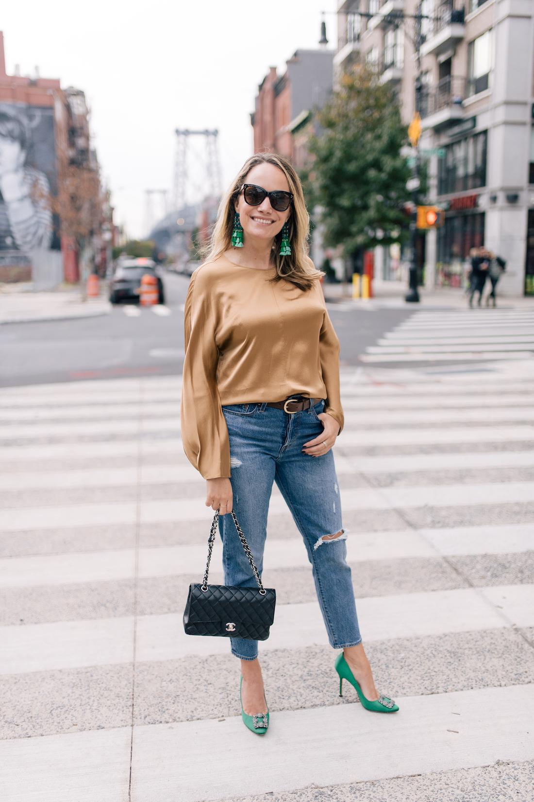 Outfit Details:Levi's Jeans //Vince Blouse  //Tuckernuck Earrings//Manolo Blahnik Heels //Polaroid Sunglasses //J.Crew Belt //Chanel Purse
