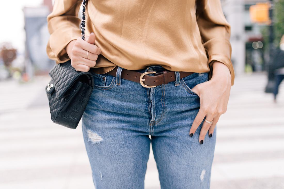 Outfit Details:Levi's Jeans //Vince Blouse//Manolo Blahnik Heels //J.Crew Belt //Chanel Purse