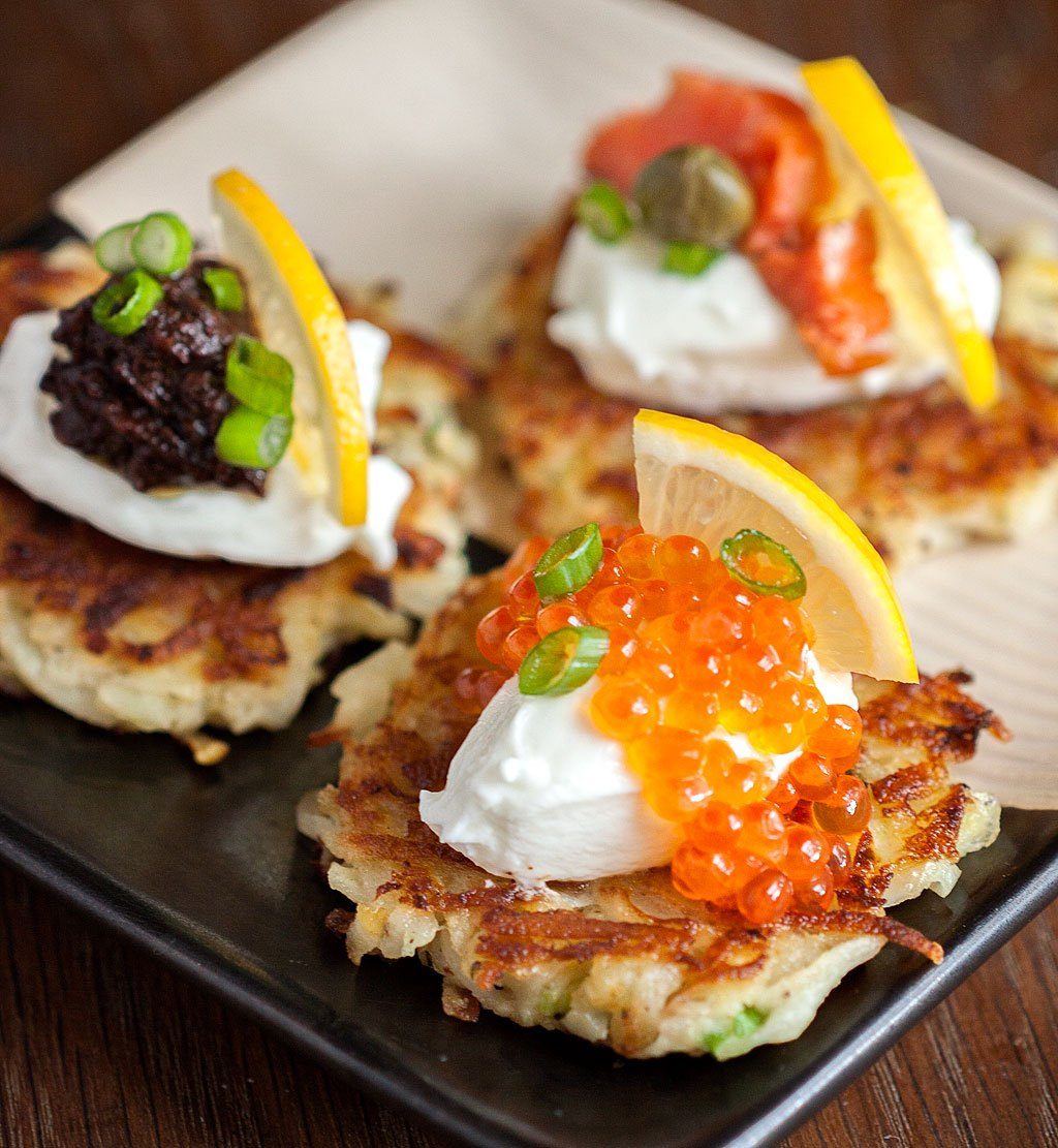 the best make ahead appetizers | potato apple pancakes with caviar and creme fraiche.