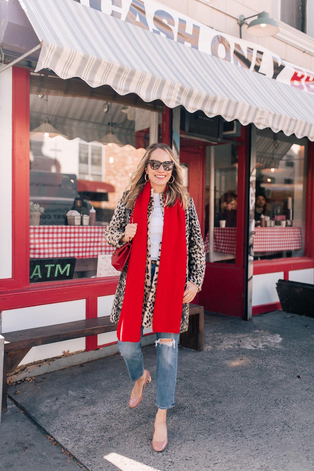 J. McLaughlin Leopard Coat  // Aether Scarf // x Karla Tee // Levi's Jeans // Vintage Chanel Purse // Ferragamo Heels // Polaroid Sunglasses// BaubleBar Earrings - The Stripe