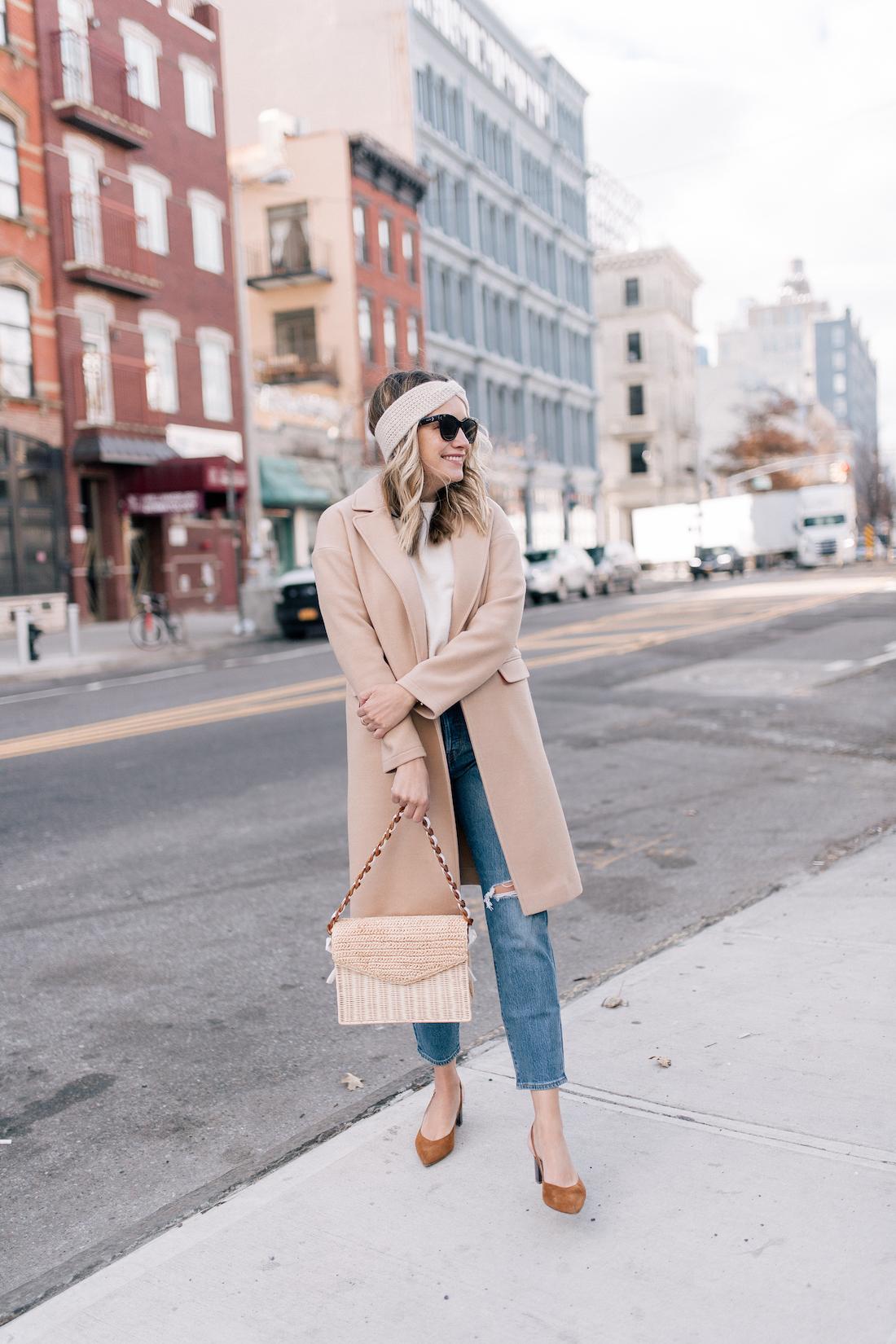 Grace Outfit Details:Topshop Coat(exact) // Eileen Fisher Sweater(c/o) // Eileen Fisher Headband (c/o)// Levi's Jeans // Polaroid Sunglasses // Pamela Munson Bag (c/o) // Sarah Flint Heels // J.Crew Belt