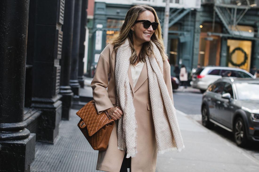 Outfit Details:Topshop Coat // Target Scarf // Topshop Satin PJ Shirt // Paige Jeans // Chanel Tan Maxi Bag //