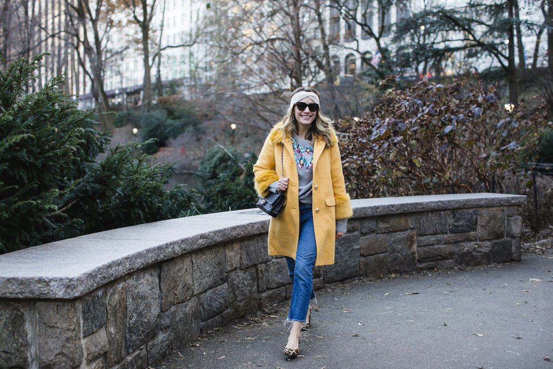 Grace Atwood: Kate Spade Coat // Zara Sweater // Re/Done Denim // Margaux Heels // Eileen Fisher Headband // Chanel Bag // Polaroid Sunglasses