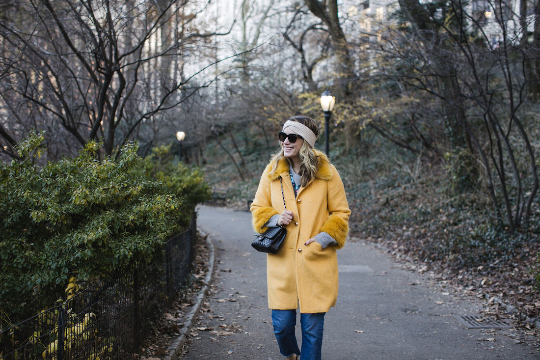 Outfit Details: Kate Spade Coat // Zara Sweater // Re/Done Denim //  Eileen Fisher Headband // Chanel Bag // Polaroid Sunglasses