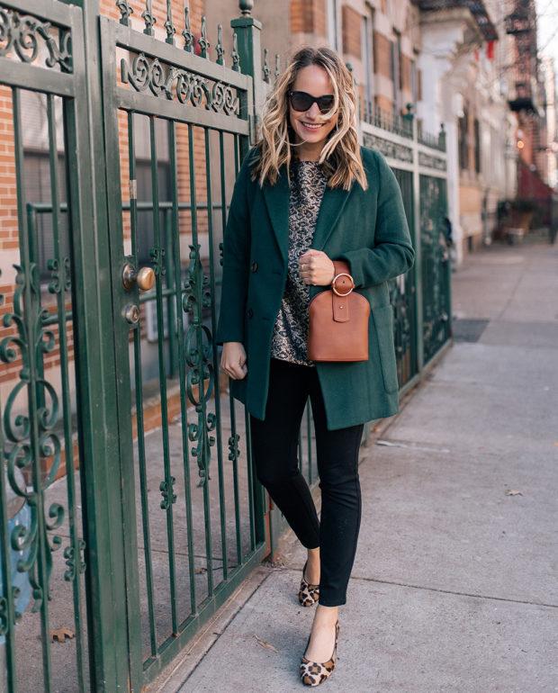 Outfit Details:Madewell Coat // Tuckernuck Top(c/o) // NYDJ Leggings // Margaux Heels// Polaroid Sunglasses // Parisa Wang Bag(c/o)