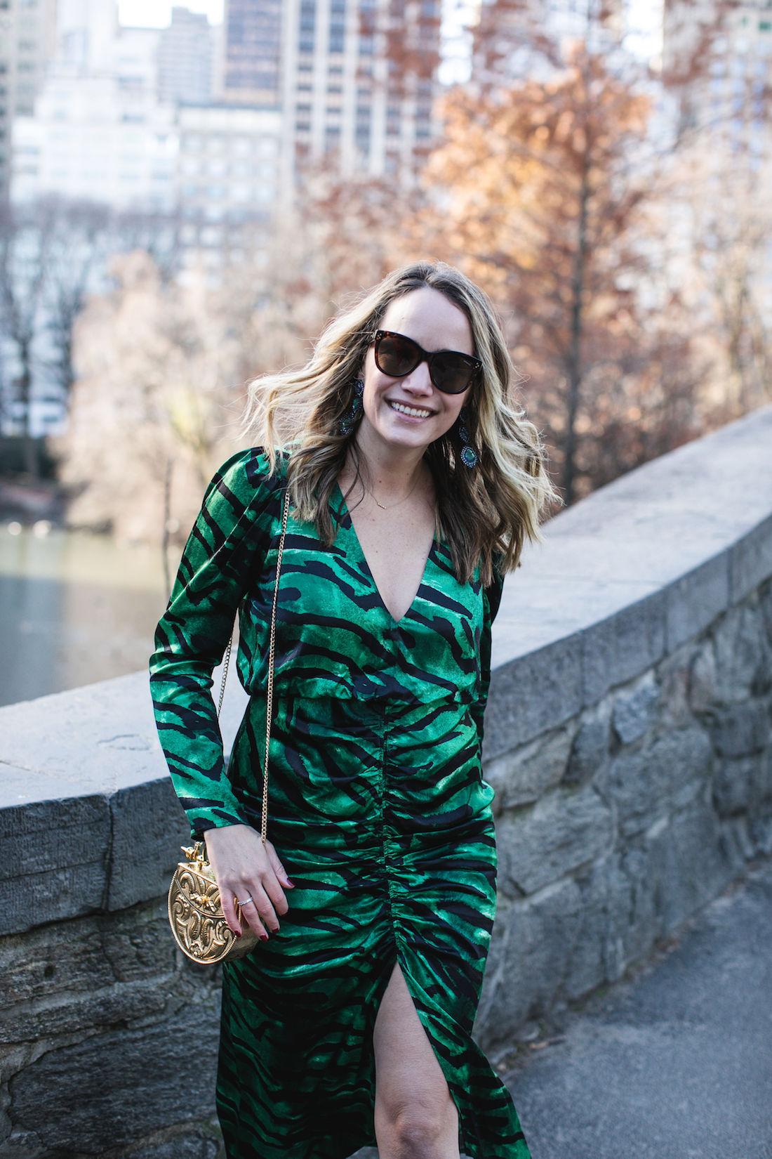 Outfit Details: Topshop Dress / Okhtein Bag // Kendra Scott Earrings // Polaroid Sunglasses