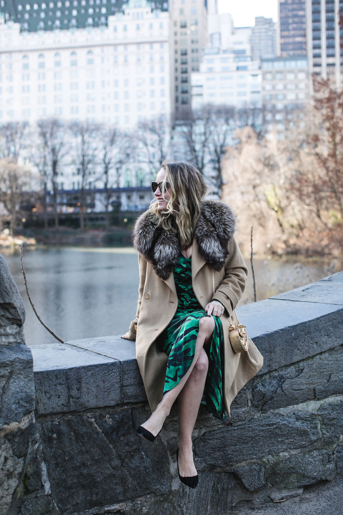 Outfit Details:Old Vince Coat / Vintage Fur // Topshop Dress // Manolo Blahnik Pumps // Okhtein Bag // Kendra Scott Earrings // Polaroid Sunglasses