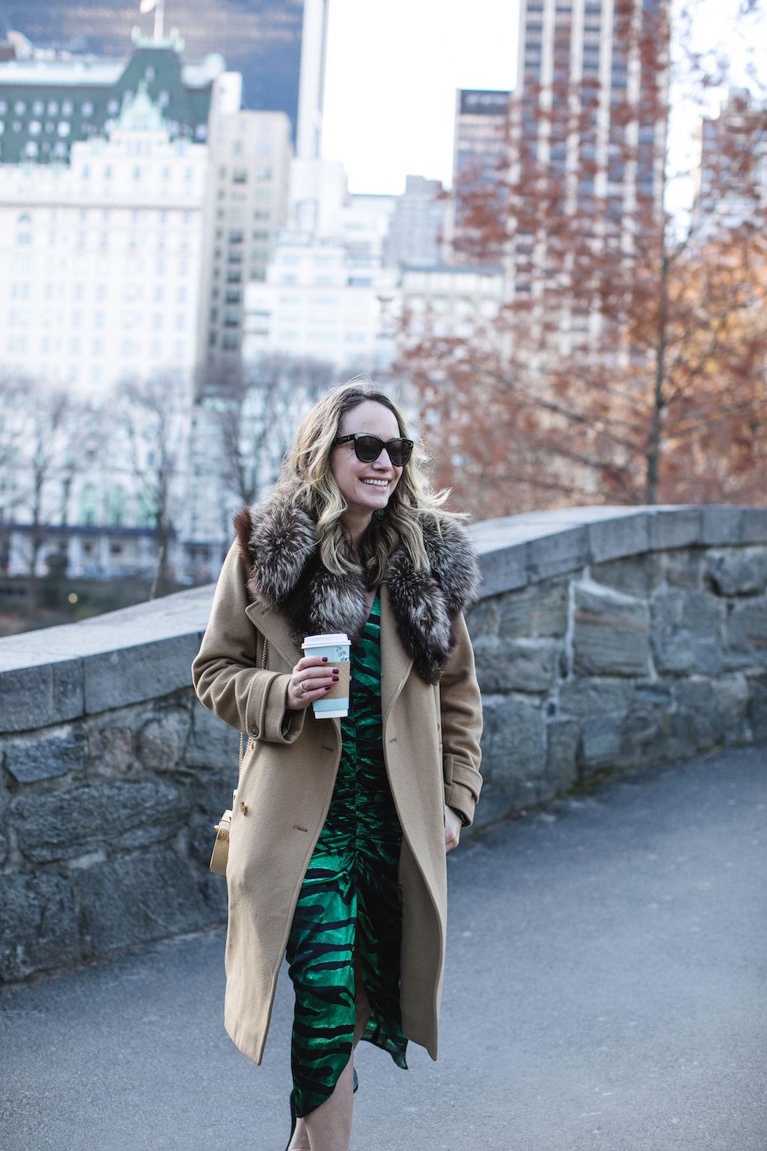 Outfit Details:Old Vince Coat / Vintage Fur // Topshop Dress //  Kendra Scott Earrings // Polaroid Sunglasses