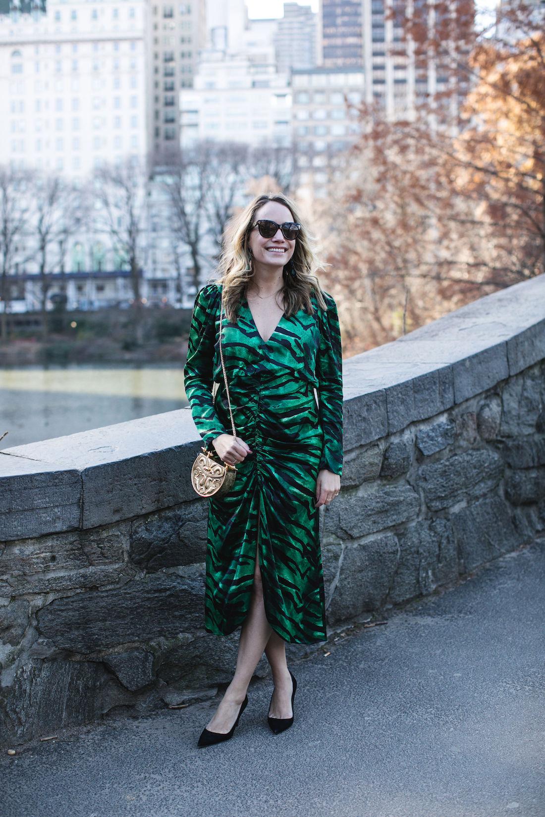 Outfit Details: Topshop Dress // Manolo Blahnik Pumps // Okhtein Bag // Kendra Scott Earrings