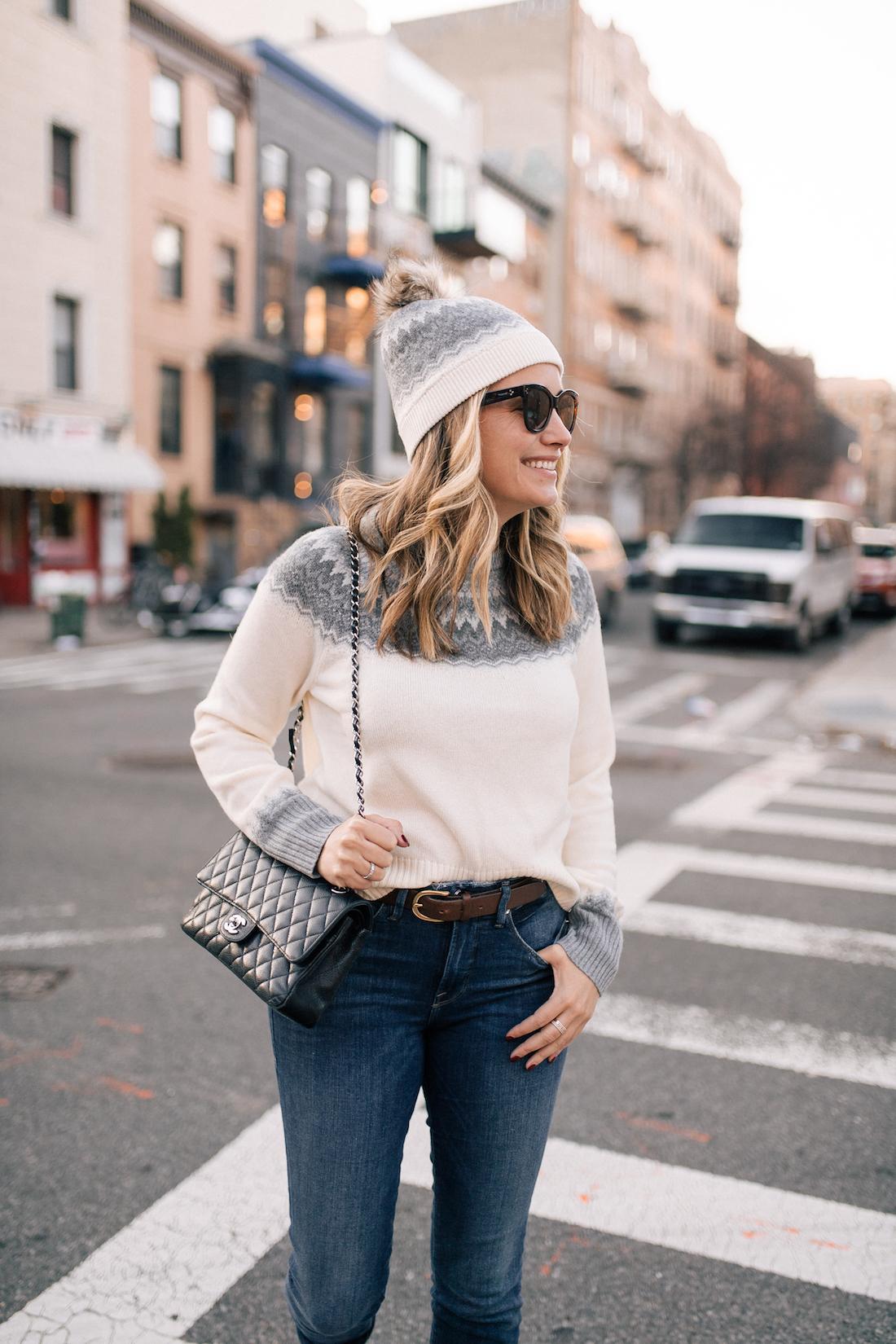 Vineyard Vines Sweater + Hat (c/o) // Good American Jeans // Chanel Purse // Polaroid Sunglasses