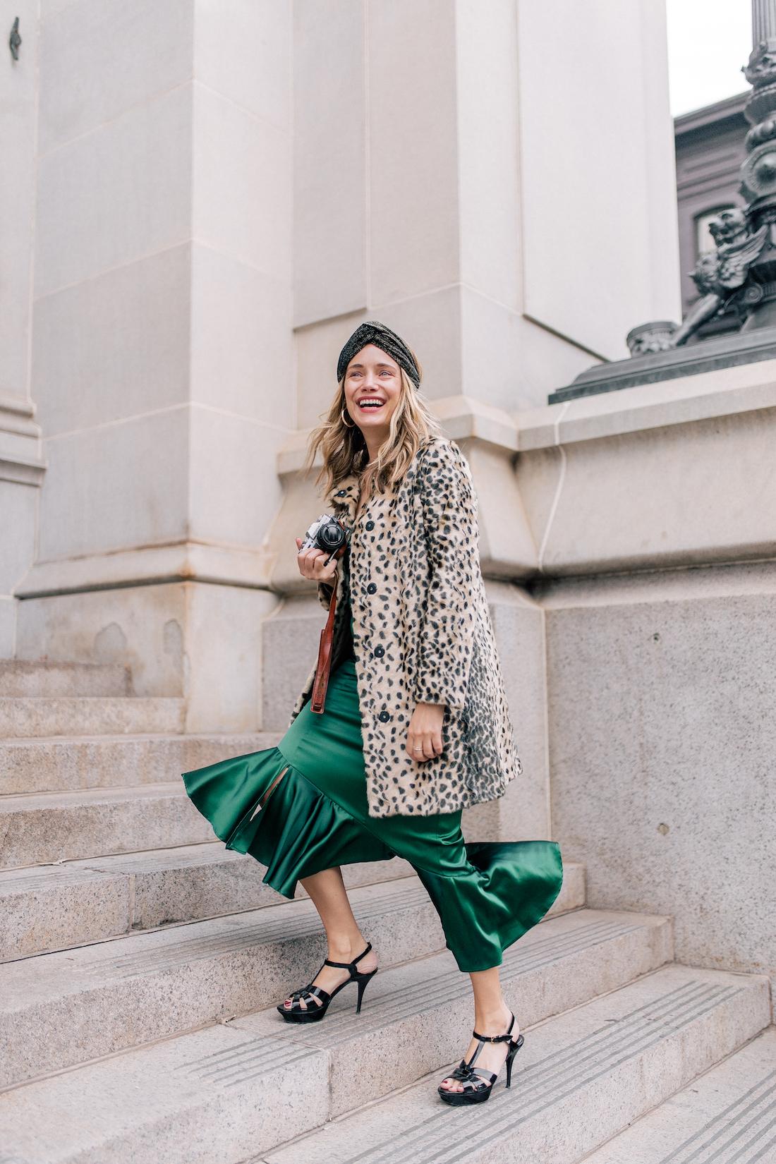 Outfit Details: Viva Aviva Dress c/o// Animal Print Coat // Zara Sparkly Headband! // Saint Laurent Tribute Sandals // Okhtein Bag