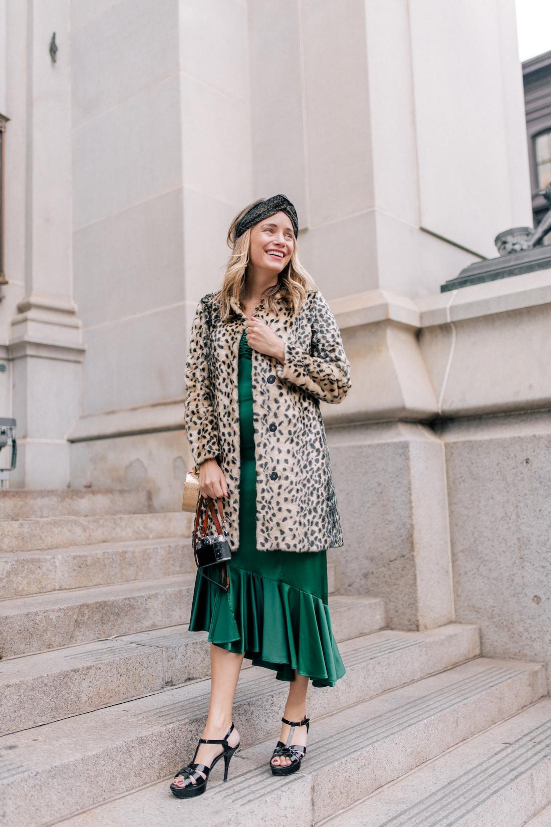 Grace Atwood Outfit Details: Viva Aviva Dress c/o// Animal Print Coat // Zara Sparkly Headband! // Saint Laurent Tribute Sandals // Okhtein Bag