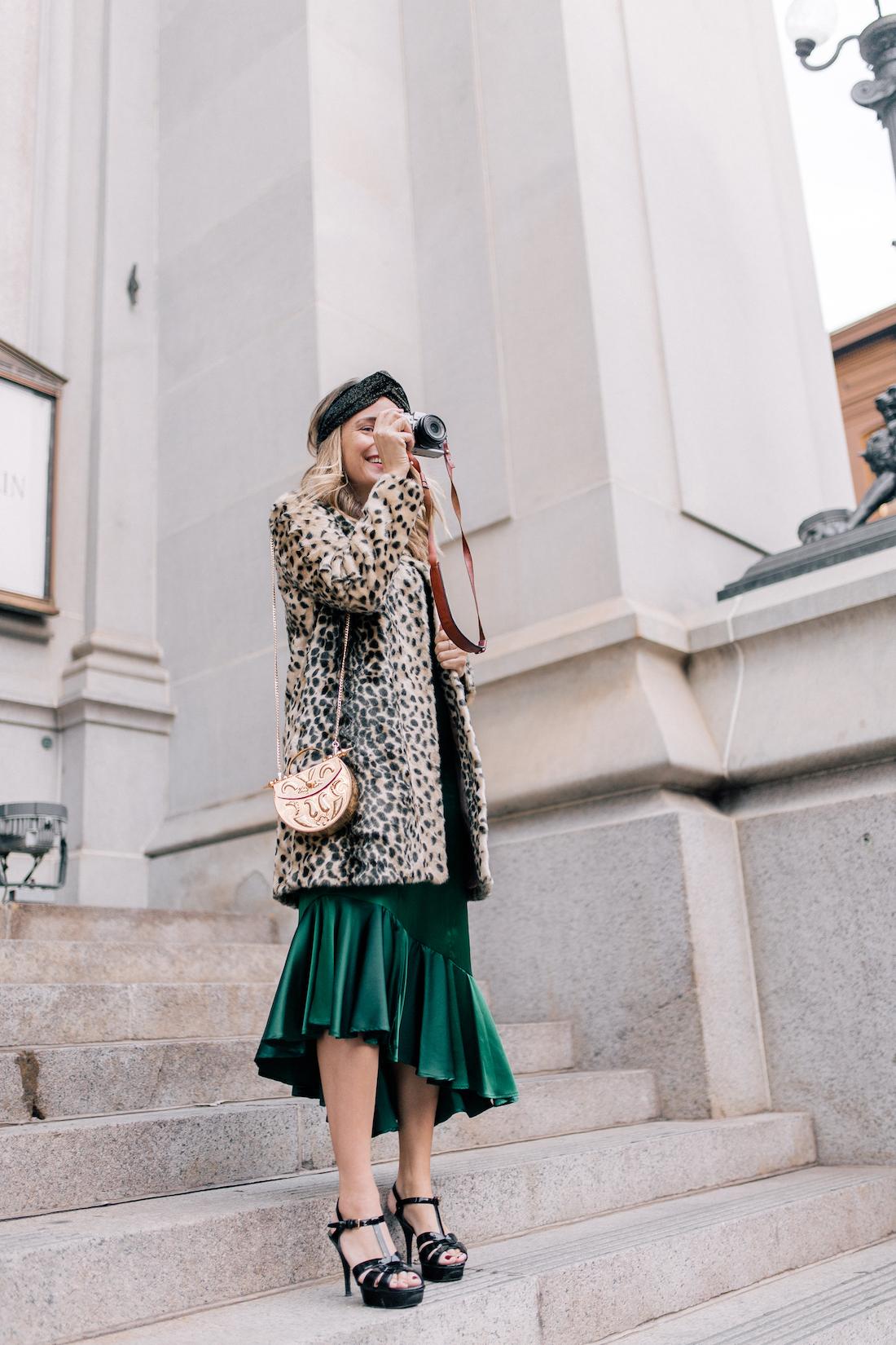 Outfit Details: Viva Aviva Dress c/o// Animal Print Coat // Zara Sparkly Headband! // Saint Laurent Tribute Sandals // Okhtein Bag - The Stripe
