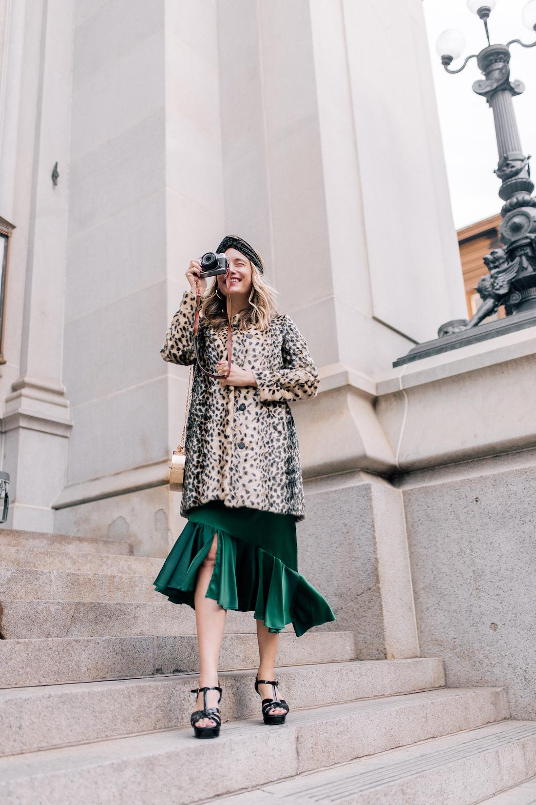 Viva Aviva Dress c/o// Animal Print Coat // Zara Sparkly Headband! // Saint Laurent Tribute Sandals // Okhtein Bag
