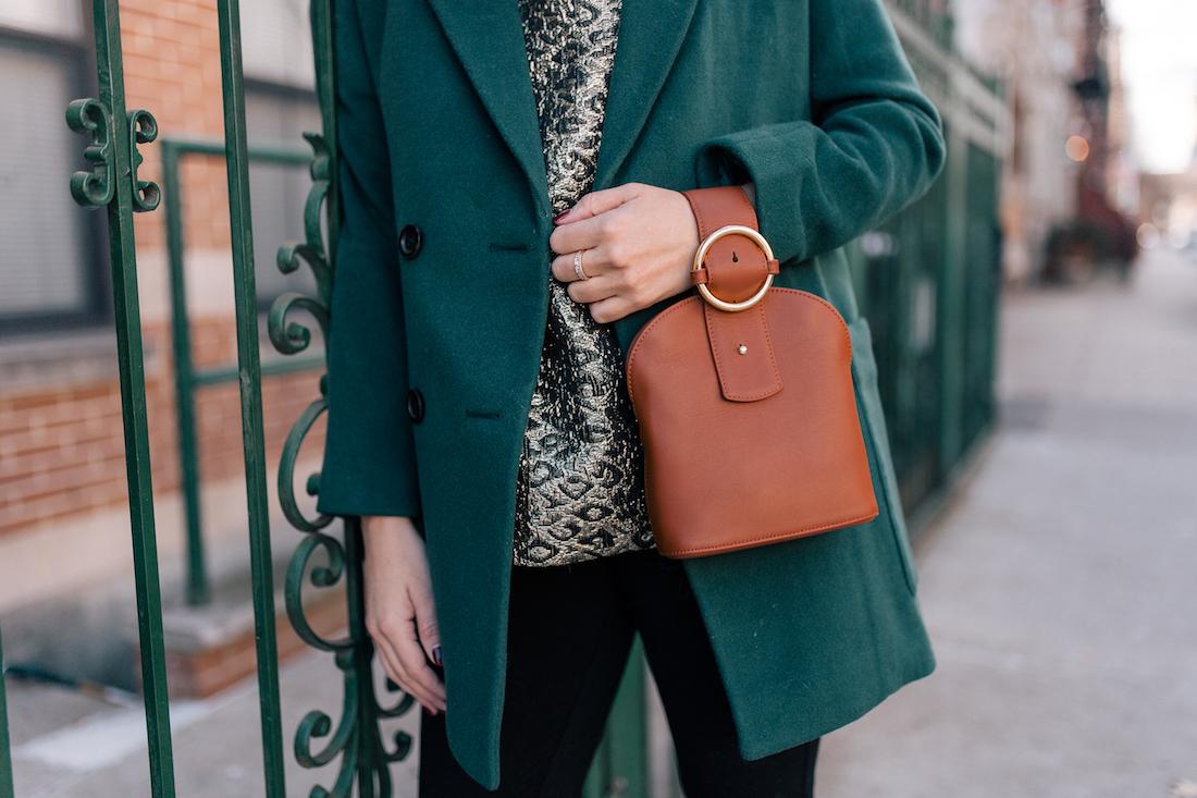 Outfit Details:Madewell Coat // Tuckernuck Top(c/o) // NYDJ Leggings // Parisa Wang Bag(c/o)