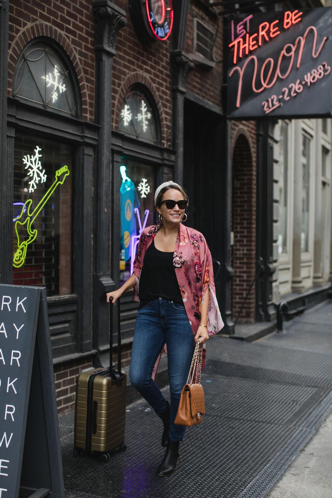 Look 1 Details: Silk Kimono (exact) // Eileen Fisher Silk Camisole // Good American Jeans (similar)// Lele Sadoughi Headband(love this one too!) // Gold Hoops (similar) //Sunglasses (similar) // Boots (similar) // Monica Vinader Bracelet // Similar Suitcase