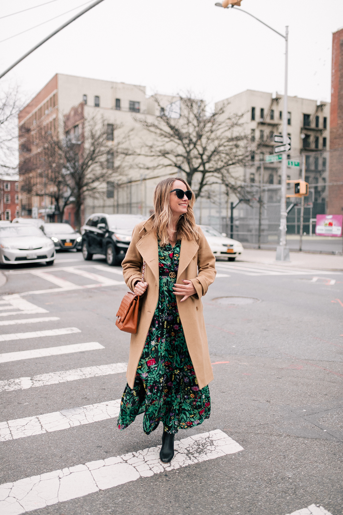 Outfit Details: Vince Coat (a few years old but this, this, and this are simlar) // ASOS Floral Maxi Dress // Express Tights // Soludos Boots (on sale!)// Rachel Comey Earrings // Chanel Purse // Gucci Belt // Quay Sunglasses