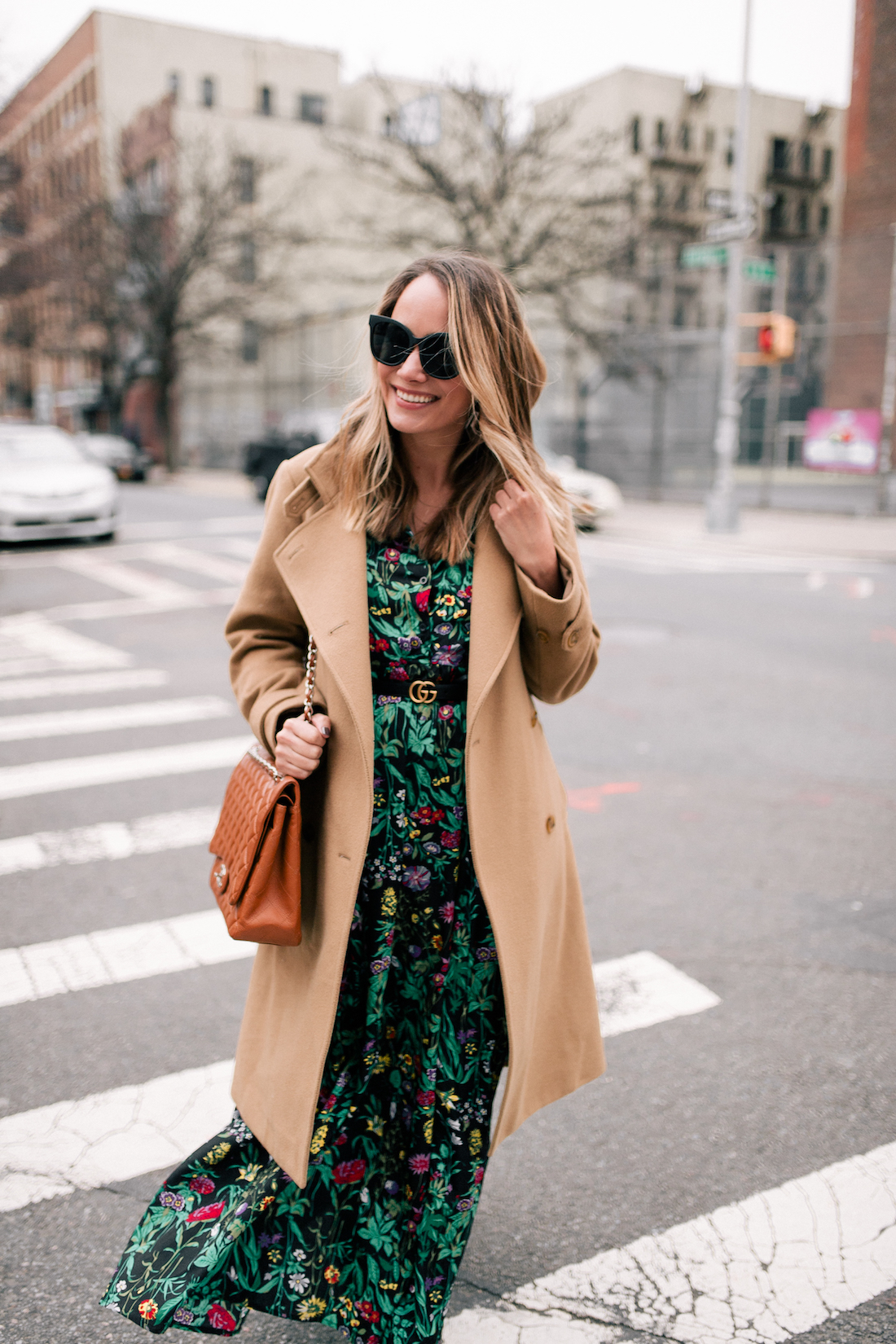 Outfit Details: Vince Coat (a few years old but this, this, and this are simlar) // ASOS Floral Maxi Dress // Express Tights // Rachel Comey Earrings // Chanel Purse // Gucci Belt // Quay Sunglasses