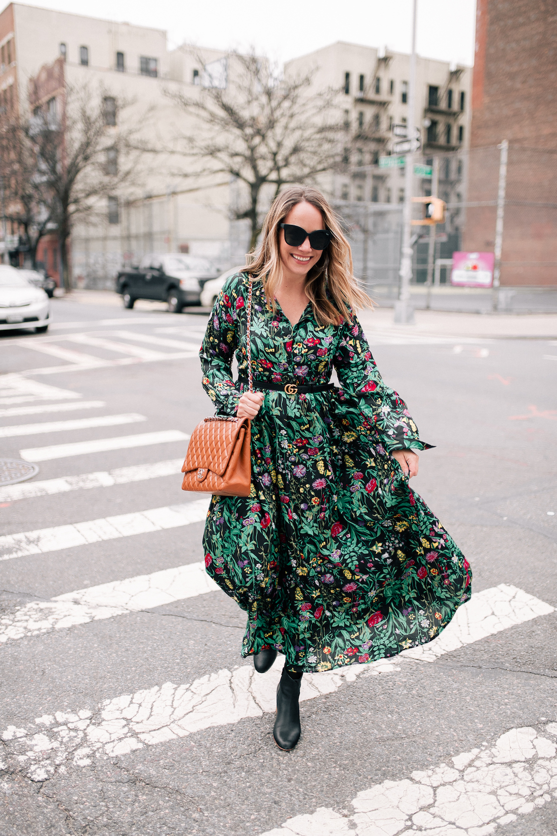 ASOS Floral Maxi Dress // Express Tights // Soludos Boots (on sale!)// Rachel Comey Earrings // Chanel Purse // Gucci Belt // Quay Sunglasses